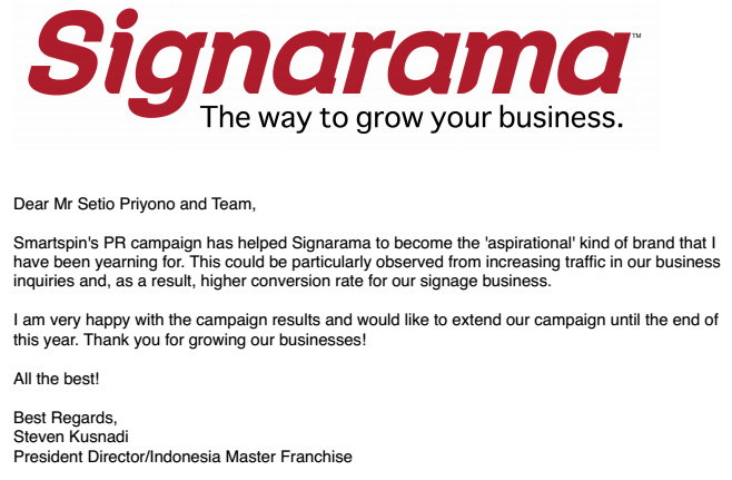Client testimonial from Signarama, Public Relations Jakarta